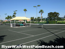 Riverwalk boasts eight of these lighted Har-Tru tennis courts